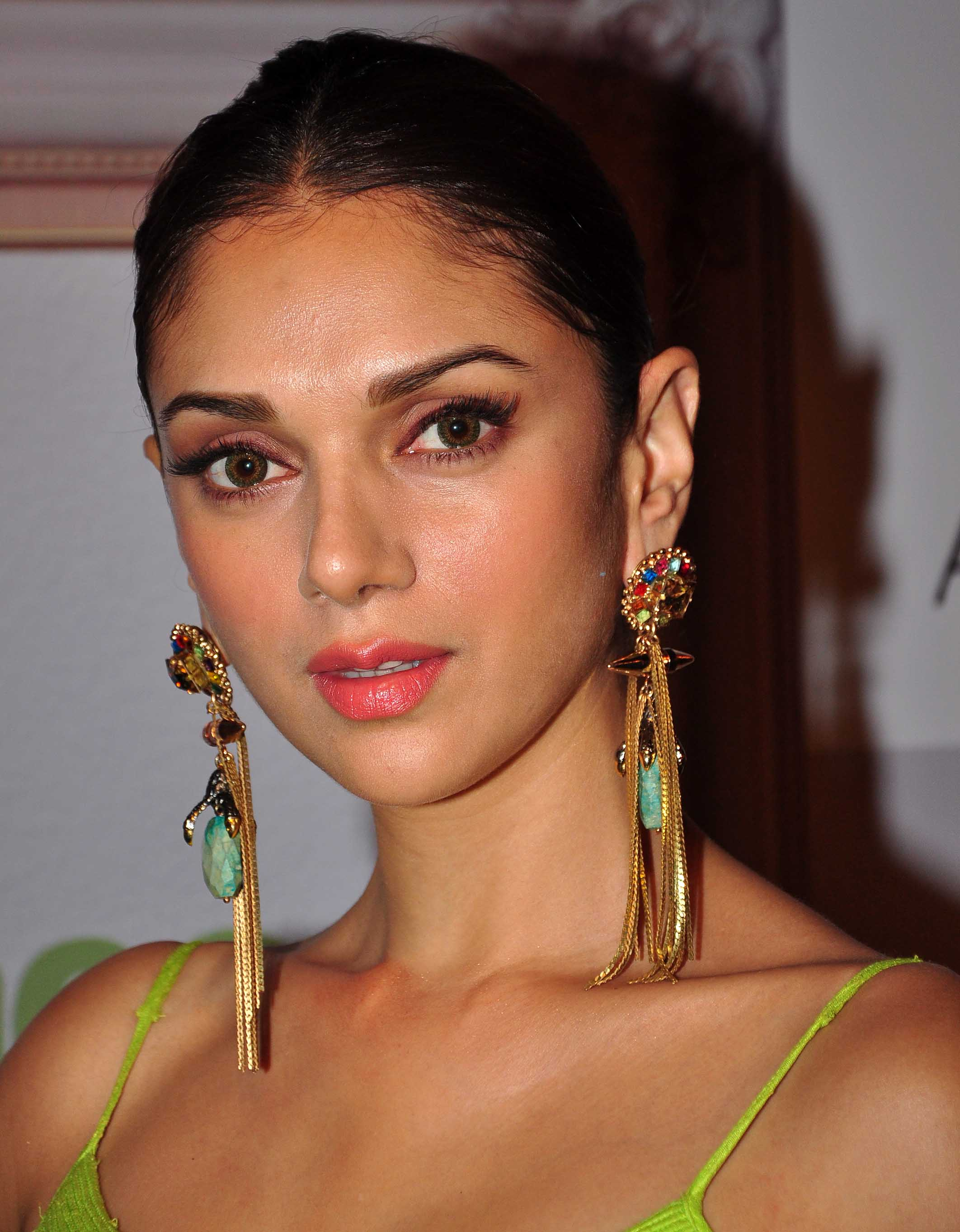 Aditi rao hydari in fancy gold earings