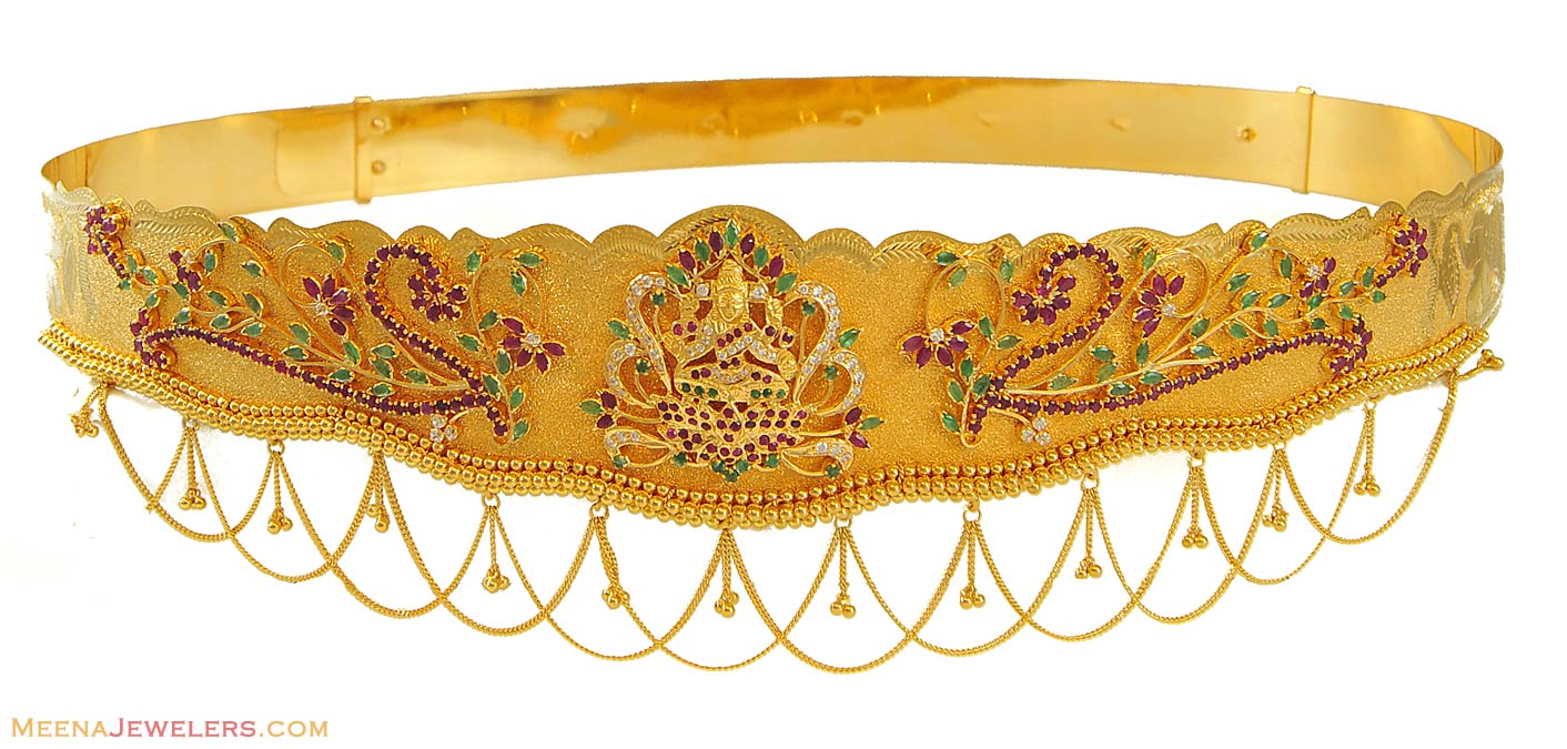 Gold vaddanam oddiyanam kammarpatta waisbelt designs south indian - Gold_kamar_patta_vaddanam Stone Vaddanam Gold And Diamond Waist Belt