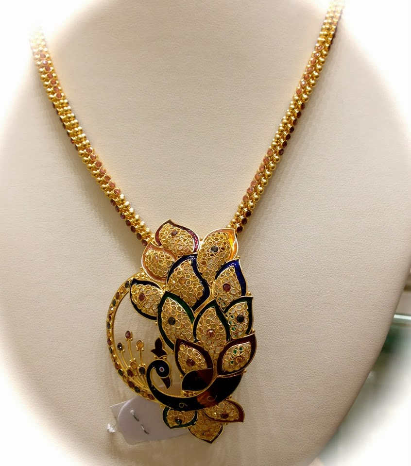 peacock pendant with  gold chain