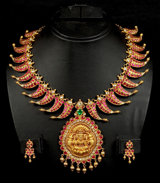 Antique Lakshmi Necklace Studded with Rubies
