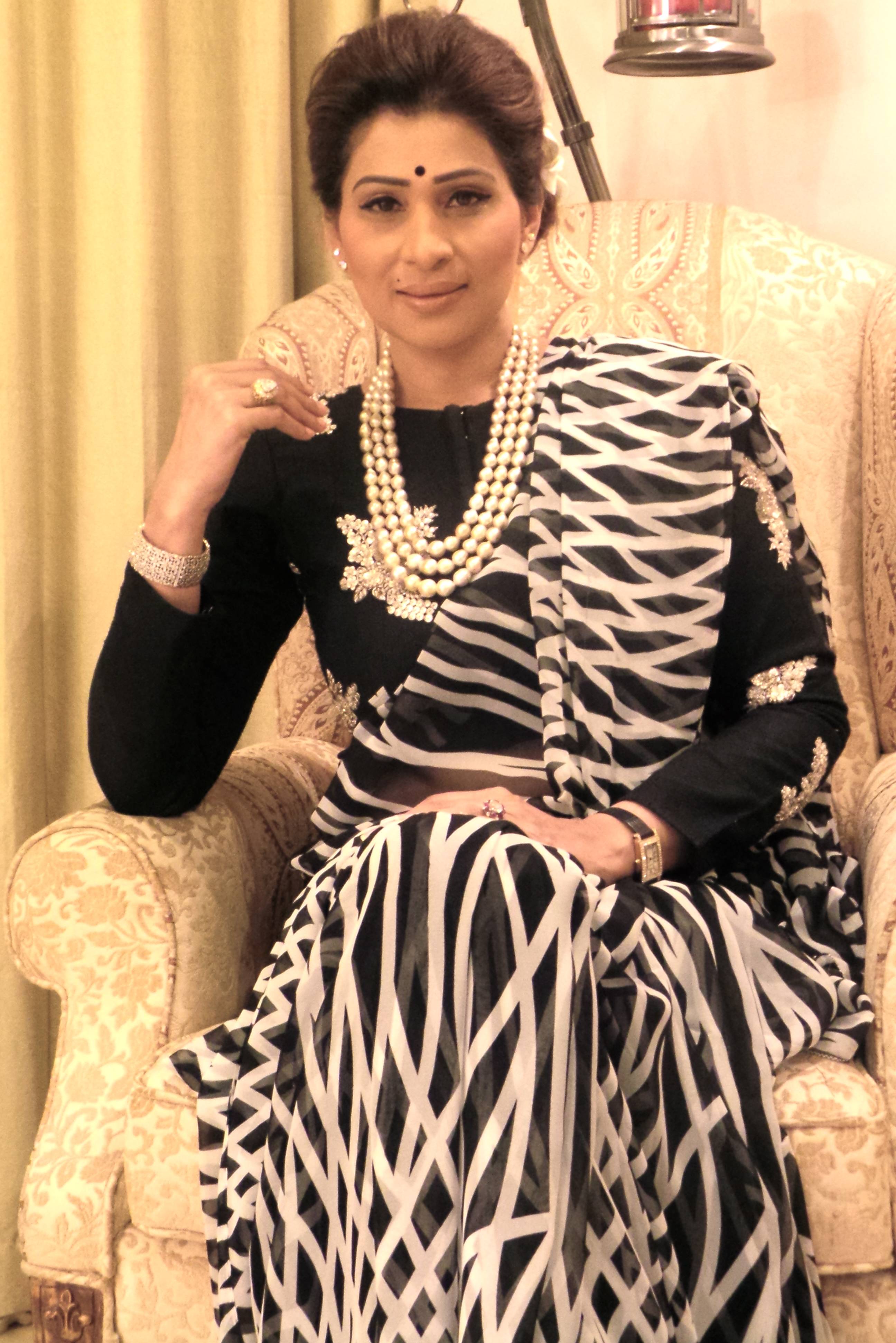 Shreedevi choudary in long pearl chain