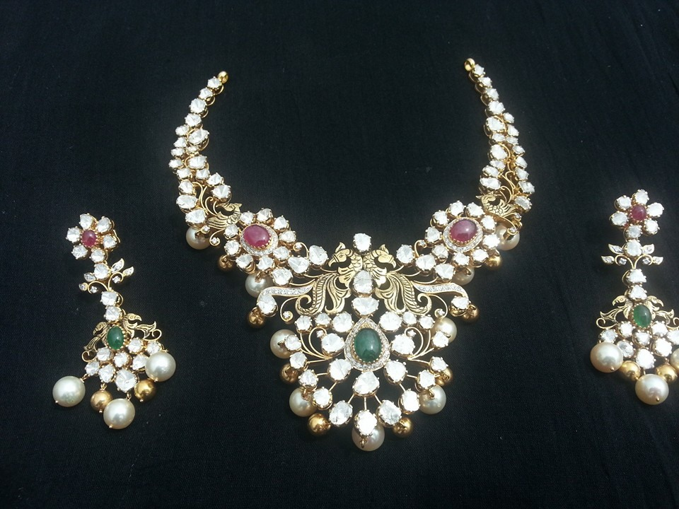 jos diamond large jewelery necklaces uncut necklace alukkas gold