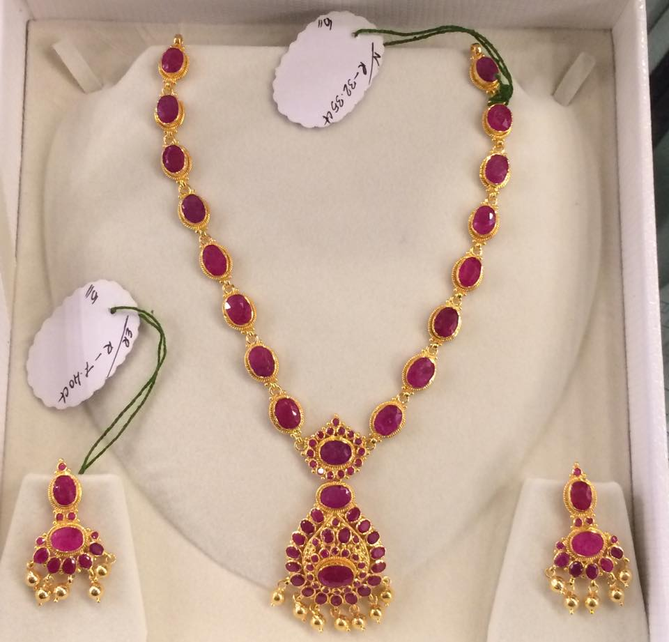 ruby necklace collection set