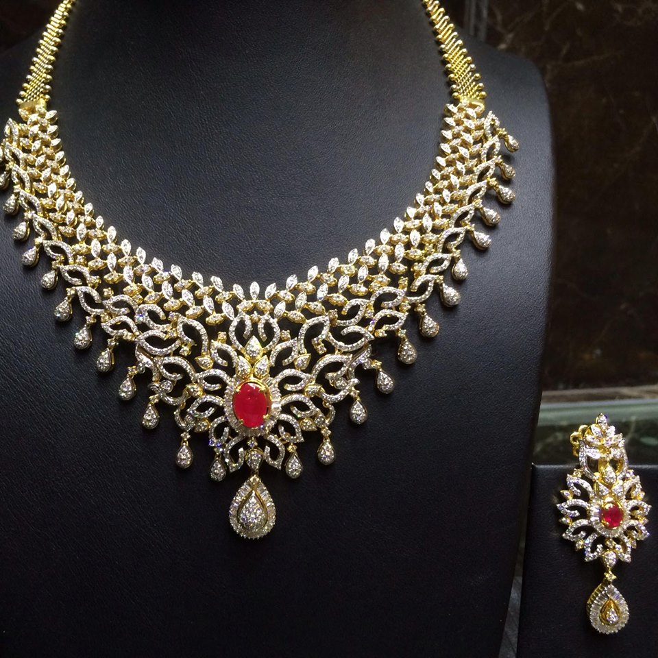 latest diamond necklace collection ruby