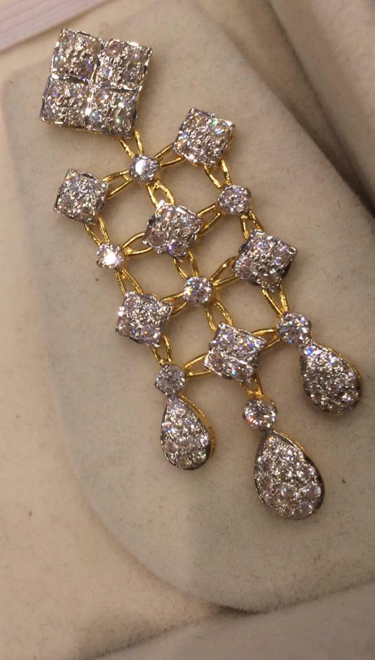 90 gms cz necklace set and earrings