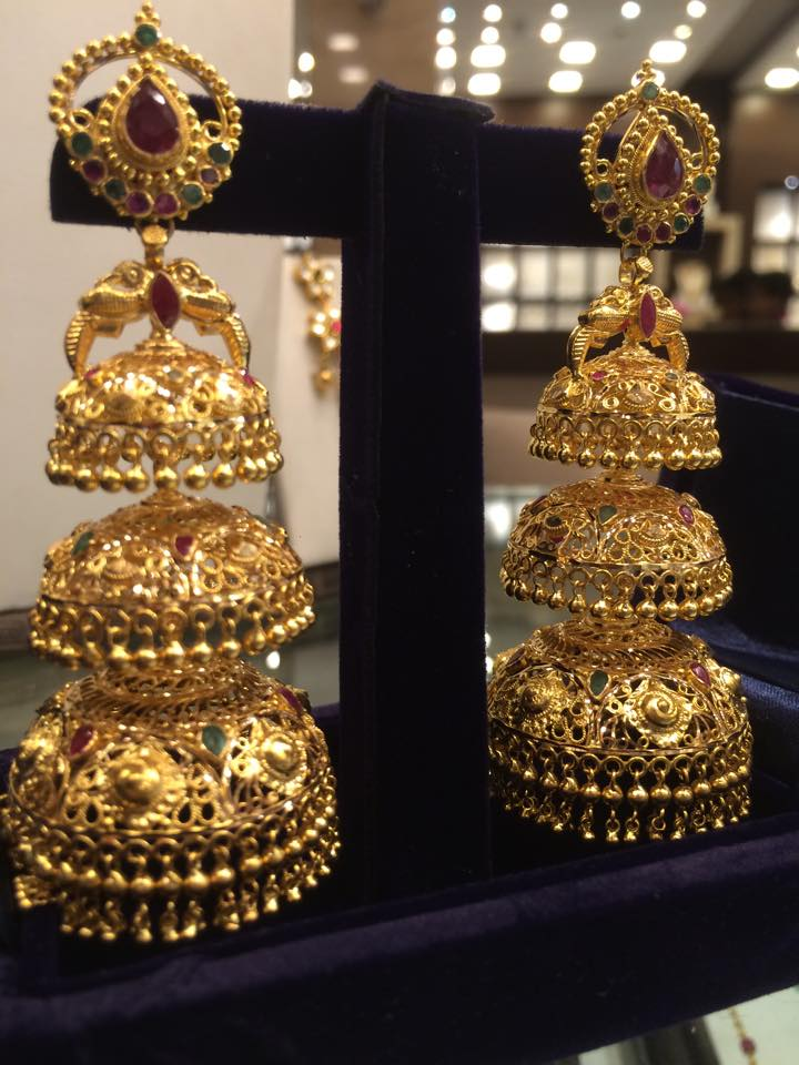 layered gold jhumkas – boutiquedesignerjewellery.com