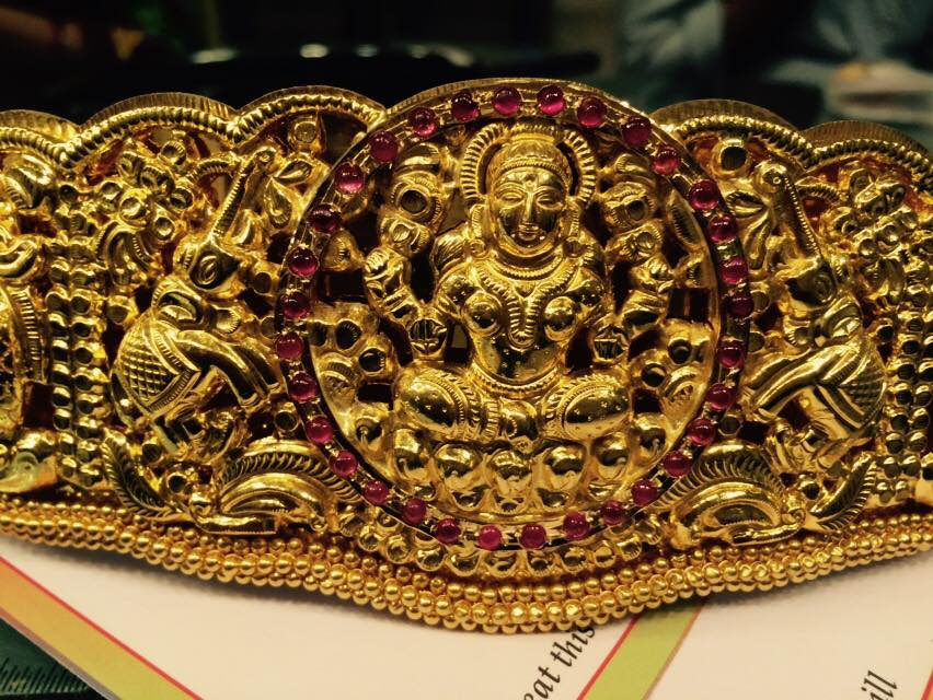 broad antique gold vaddanam set