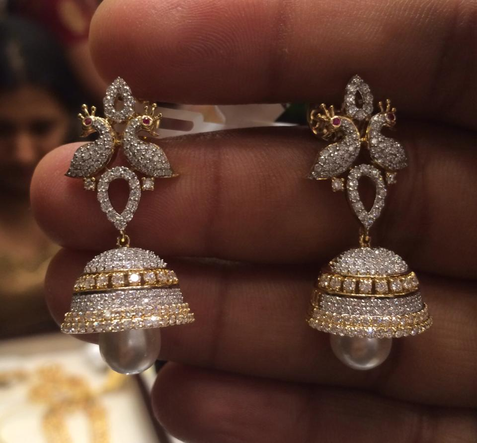 classic index pearl diamond jhumka earrings dsc gold