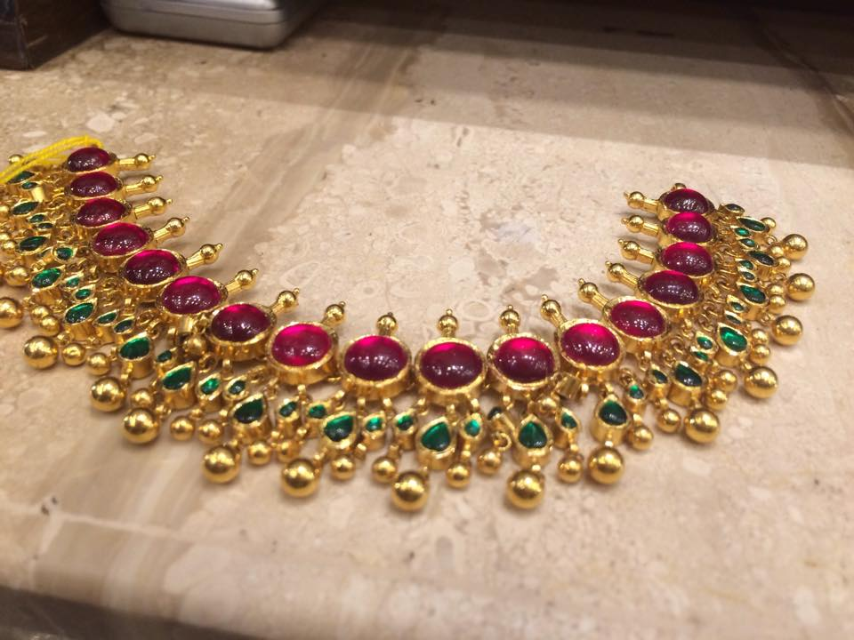 ruby pin necklace gold from rajatamaya antique