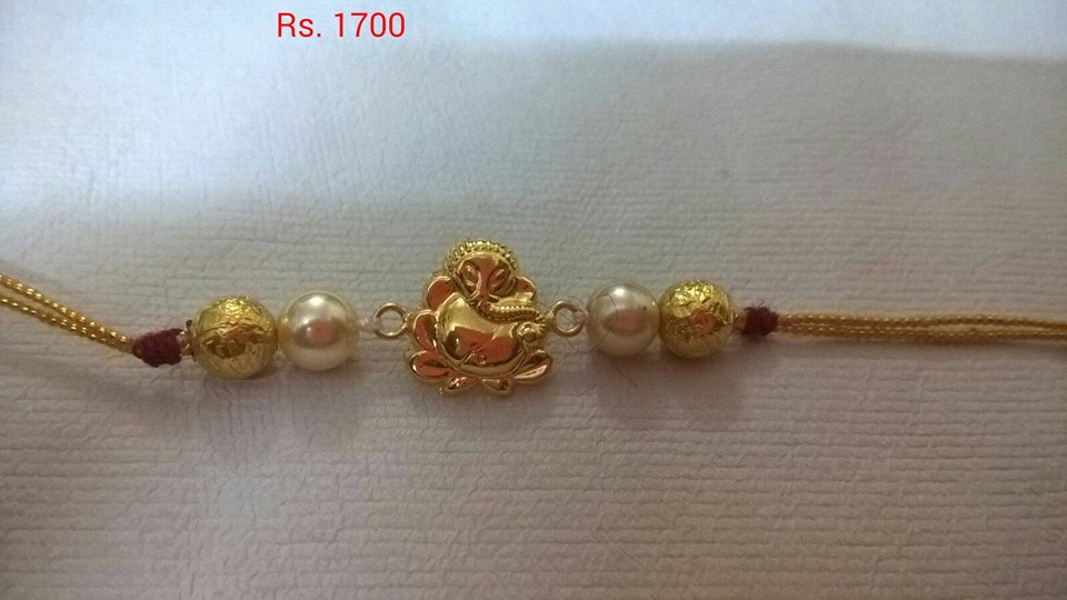 Light Weight Gold Rakhi Designs