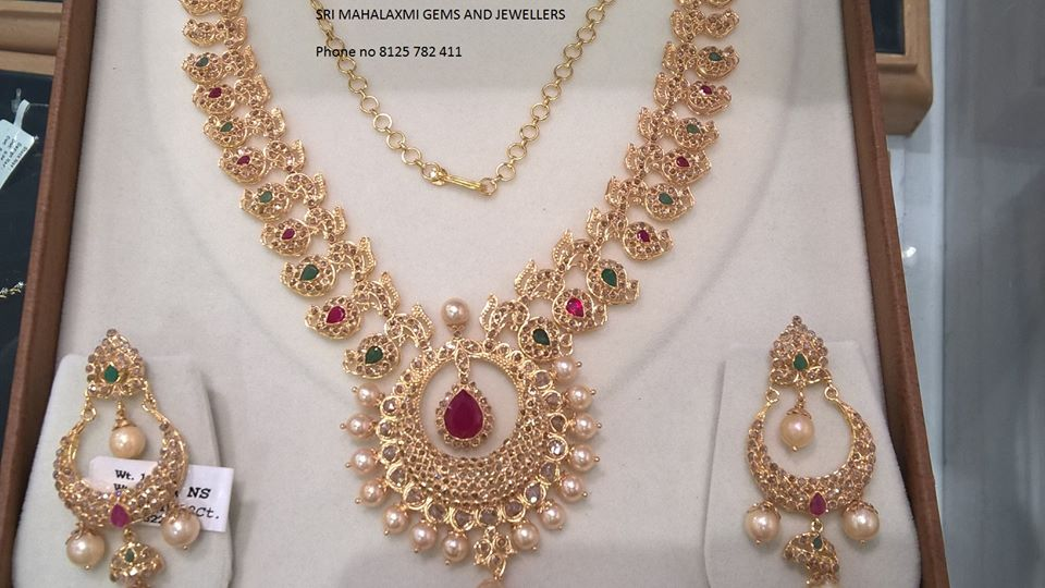 necklaces green sj diamond necklace pendants set india hasli uncut p jewelove meena with polki polkis products in suranas by