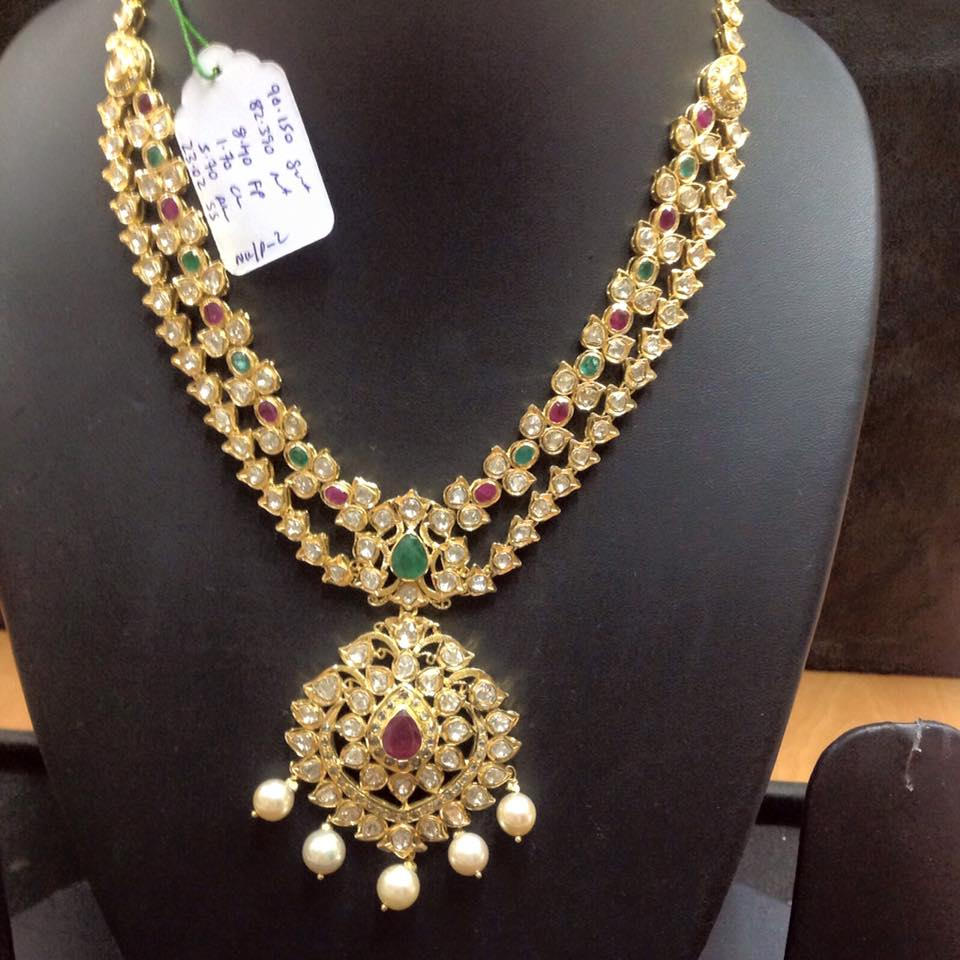Latest Indian Gold Jewellery Sets Designs For Bridal 2016: Polki Long Haram New Collection