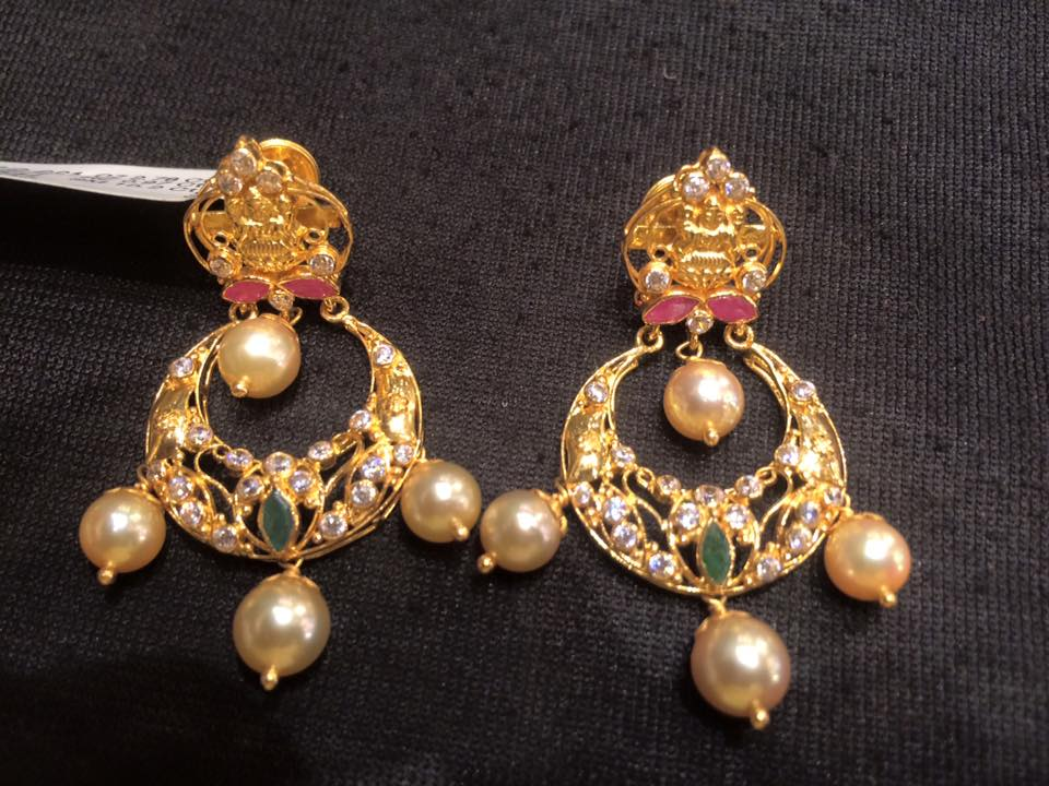 Earrings Studded With South Sea Pearls Uncut Chandbali Design