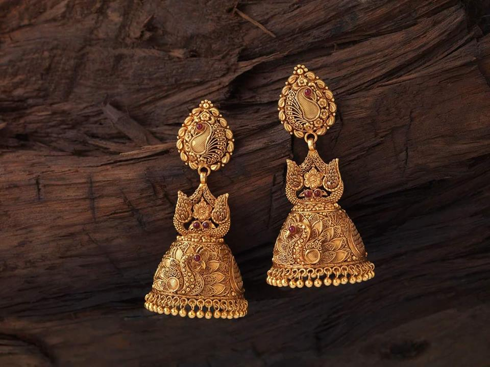 antique gold jhumkas collection new pattern ...
