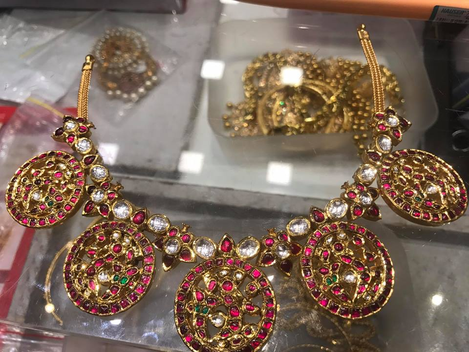 stone designer necklace set antique kempu online ruby