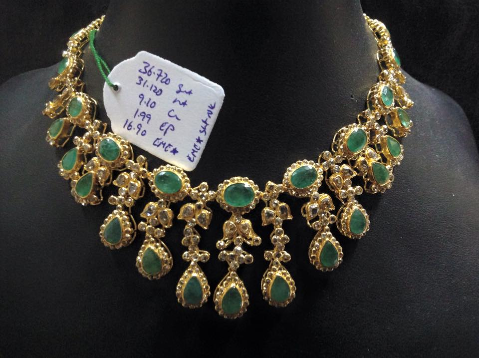 uncut diamond broad jewellery designs necklace
